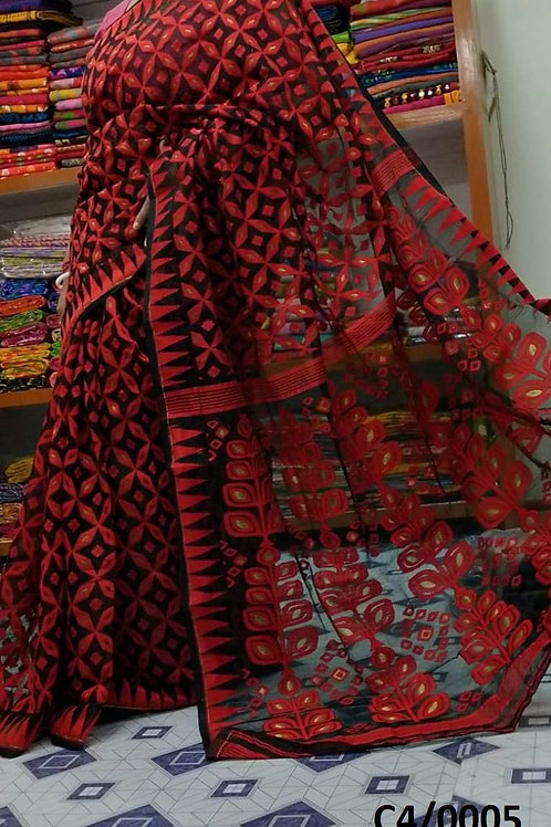 Minakari Jamdani Saree Black and Red