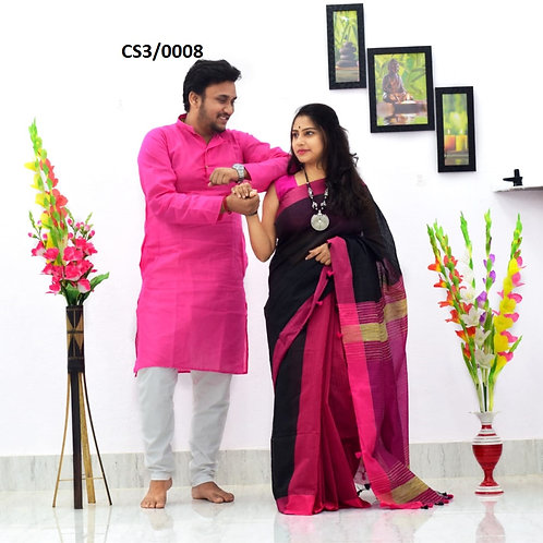 Plain Pure cotton kurta With Cotton Saree Pink and Black