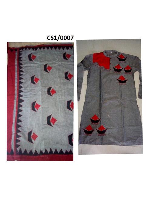 Khadi cotton applique work kurta with Saree Gray and Red