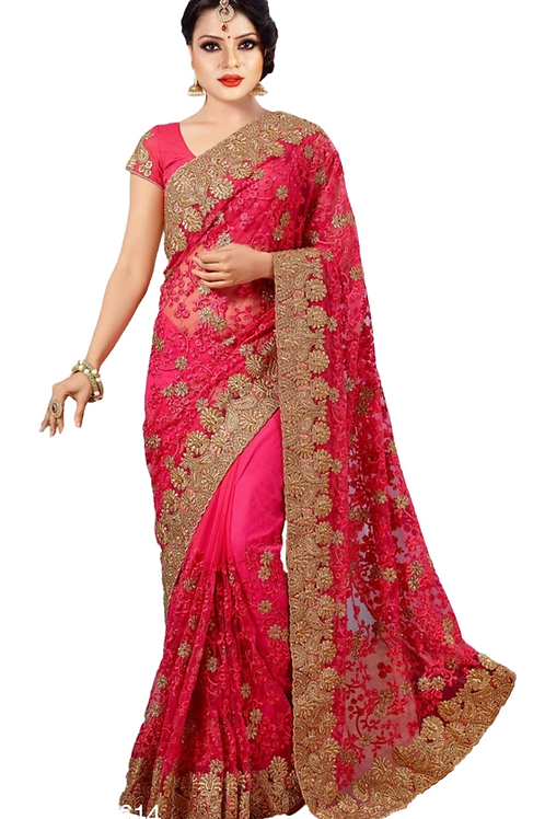 PV_N_3_Net saree with embroidery with Art Silk Blouse Piece Pink