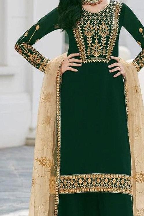 KFS Faux Georgette Suits Green