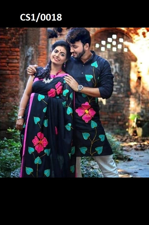 Khadi cotton applique work kurta with Saree Black