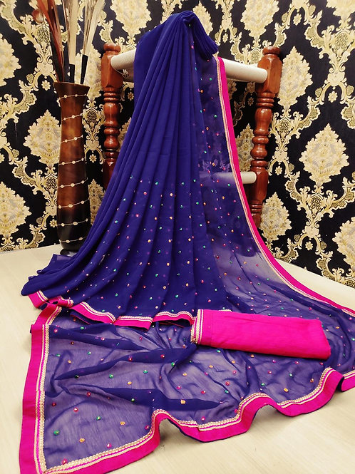KFS Multi Embroidery Stone Work Saree Blue