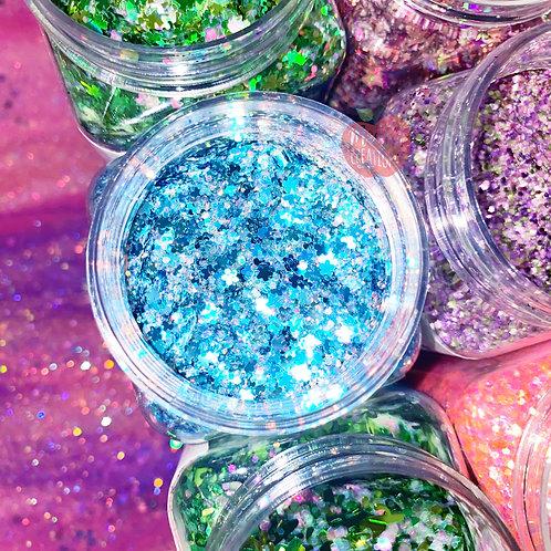 Forget Me Not Flowers Custom Mix Blue Glitter