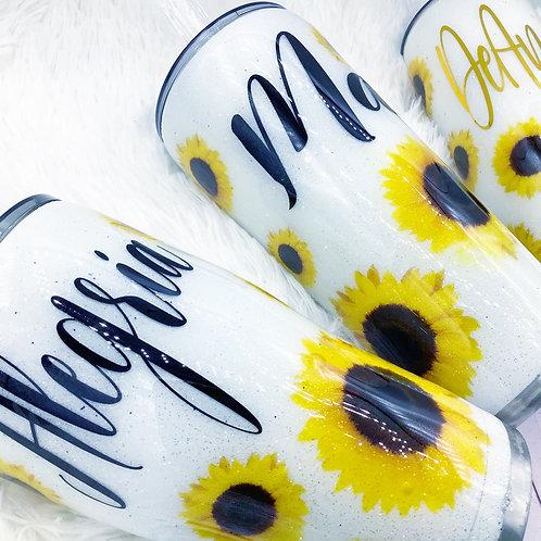 MADE TO ORDER White Sunflower Glitter Tumbler