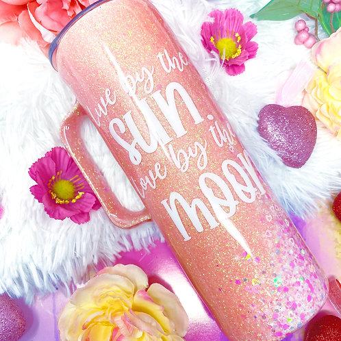 Pink Swirl Glitter Tumbler