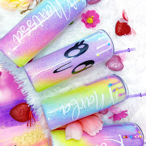 Pastel Rainbow Drip Glitter Tumbler