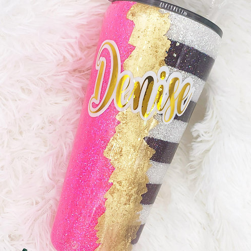 Light Pink Gold Leaf Glitter Tumbler with Stripes