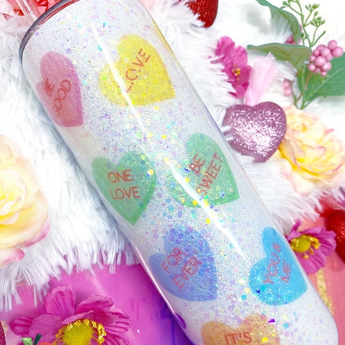 Candy Hearts White Glitter Tumbler