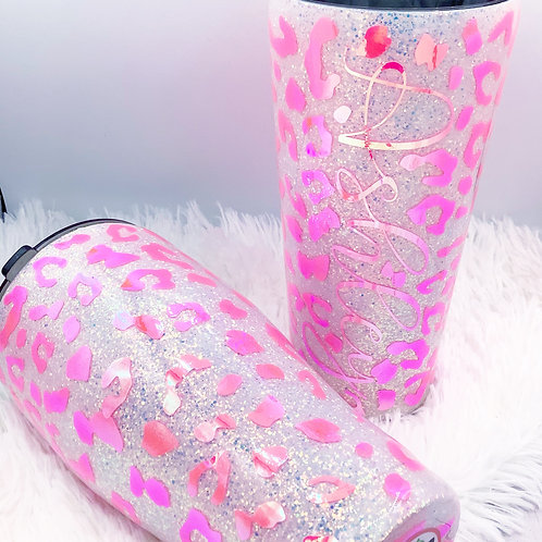 MADE TO ORDER Pink Leopard Glitter Tumbler Holographic