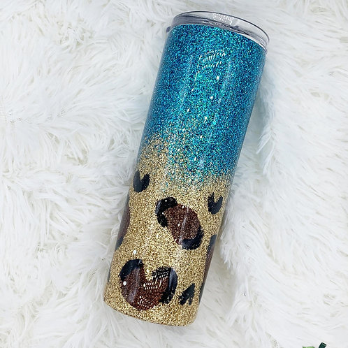 Ready to Ship Teal Leopard Glitter Tumbler