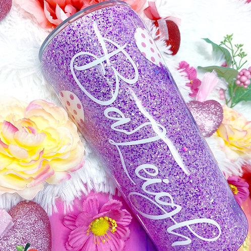 Purple Heart Glitter Tumbler