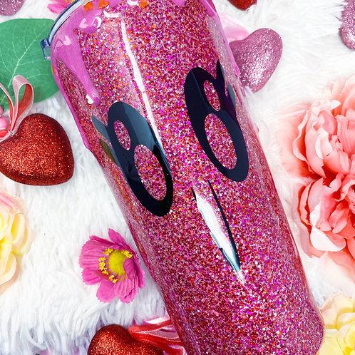 My Valentine Pink Drip Glitter Tumbler