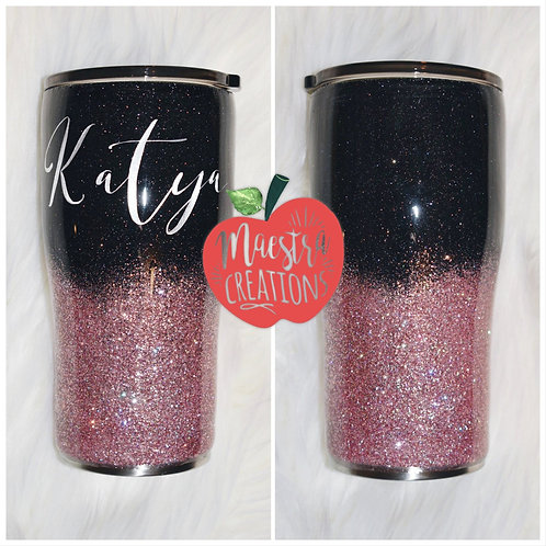 Rose gold and Black Glitter Tumbler Ombre