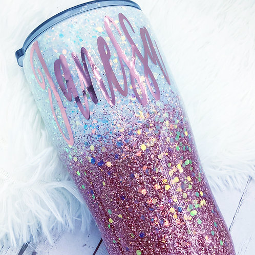 Rose Gold and White Opal Glitter Tumbler