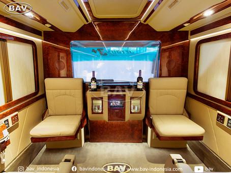 Medium bus Sultan BAV, kabin mewah dan elegan, fitur berlimpah.