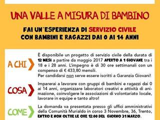 12 MESI DI SERVIZIO CIVILE IN VALLE DEI LAGHI!