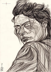 Lynne Koester, Peter Lindbergh, Portrait Drawing to Sell, for Sale, Buy Artwork, Affordable Price, Leon 47, XLVII