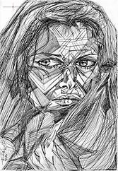 Claudia Cardinale, Modern Portrait Drawing to Sell, for Sale, Buy Artwork, Affordable Price, Leon 47, XLVII, Triangulism
