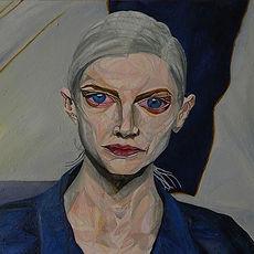 Antique Future, Futuro Antico, Dynamic Portrait Painting Series, Kristen McMenamy, Triangulism Art, Triangolismo, Metafisica