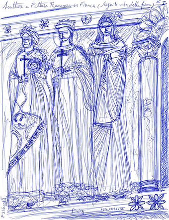 Scultura e Pittura Romanica in Francia (I) Sketch for Sale, Sell, Buy, Schizzo, Affordable Price, Christian Art, French Church, France