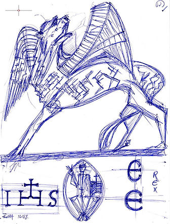 I Regni d'Occidente (IV), Sketch for Sale, Sell, Buy, Schizzo, Affordable Price, Leone Alato Sacro, Winged Sacred Lion