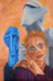 Un'Armonia Metafisica, Kristen McMenamy, Rock Drill, Horse Head, Portrait Painting to Sell, for Sale, Buy Artwork, Affordable Price, Leon 47, XLVII