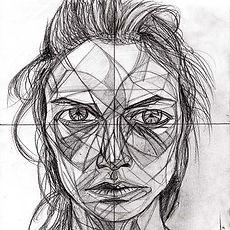 Carolyn Murphy, Portait Drawing, Enigmatic Woman, Donna Enigmatica, Triangulism Art, Triangolismo