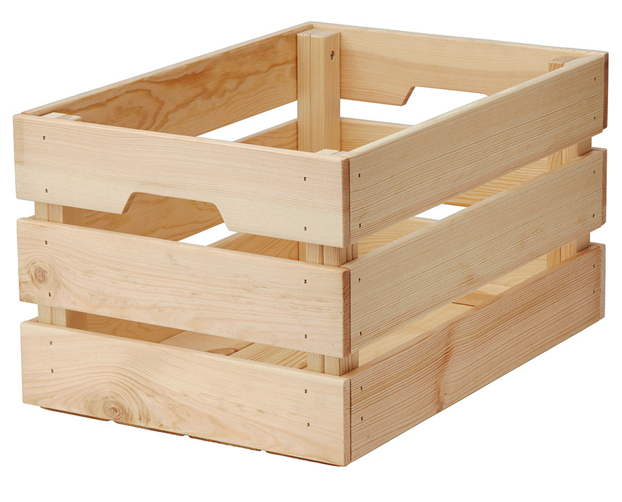 wooden crate from IKEA
