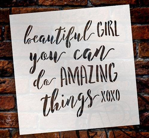 Beautiful Girl Stencil
