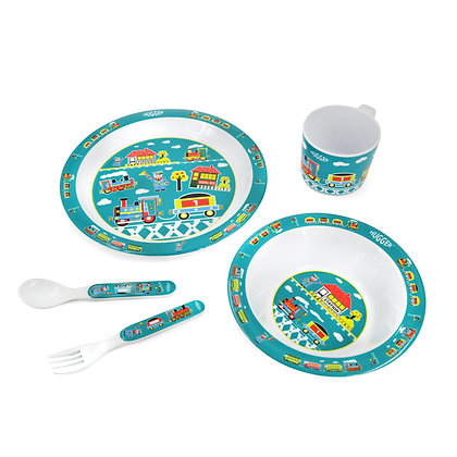 Hugger-Cutlery-Dinner-Sets-Melamine-Plates-Baby-Cup-Baby-Spoons-Baby-Plates-Trains