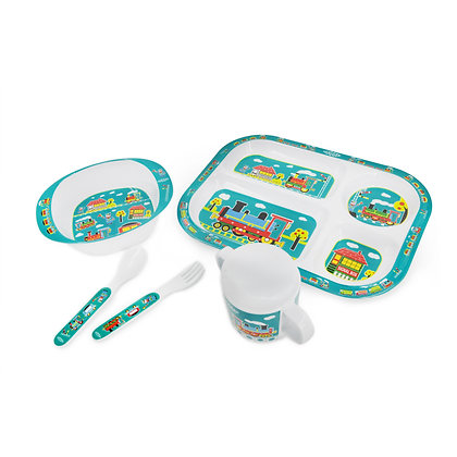 Hugger-Cutlery-Dinner-Sets-Melamine-Plates-Sippy-Cup-Baby-Spoons-Baby-Plates-Trains