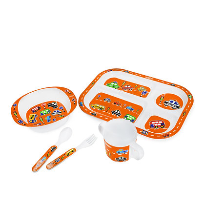 Hugger-Cutlery-Dinner-Sets-Melamine-Plates-Sippy-Cup-Baby-Spoons-Baby-Plates-Car-Traffics