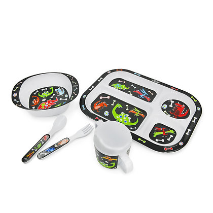 Hugger-Cutlery-Dinner-Sets-Melamine-Plates-Sippy-Cup-Baby-Spoons-Baby-Plates-Dinosaurs