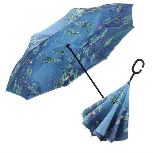 Free Standing Reverse Open Umbrella - Monet Water Lilies