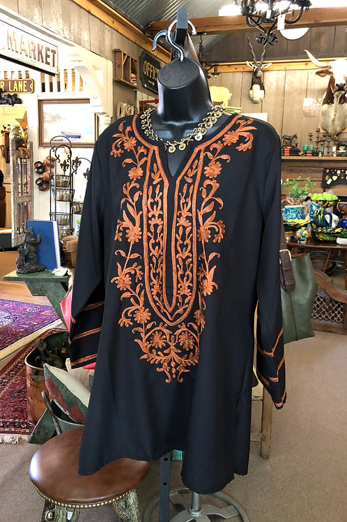 A&A #7001 Embroidery Black Top With Camel Color Thread