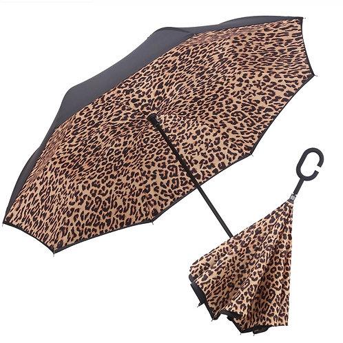 Free Standing Black/Leopard Umbrella