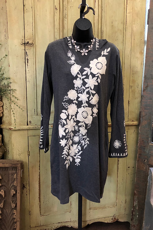 A&A Gray Embroidered Tunic with Hoodie  #5004