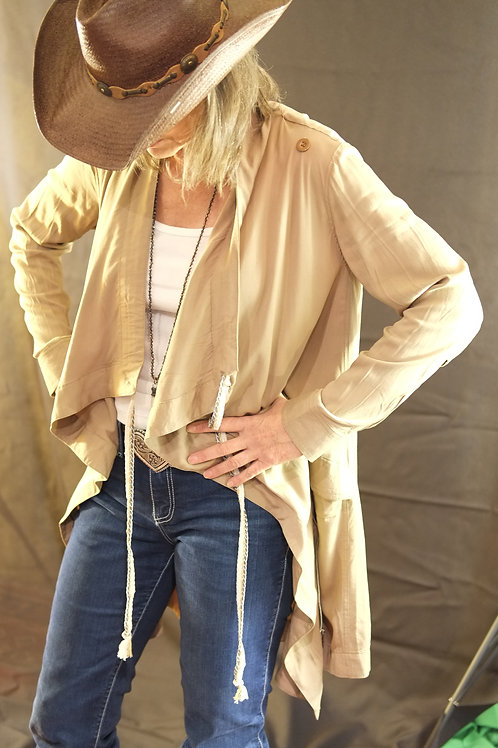 antiques fashion style coat light jacket khaki boutique women ladies comfortable shopping clothing tunic wineries