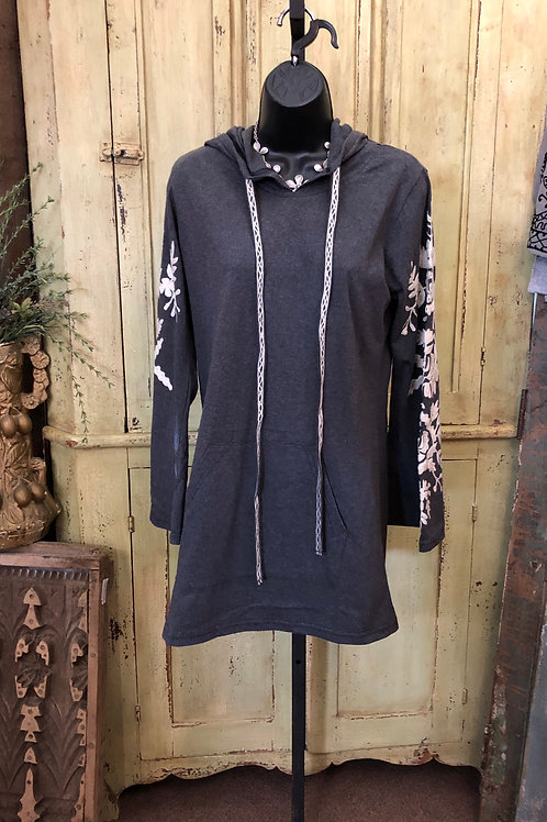 A&A Embroidered Gray Tunic w/Hoodie