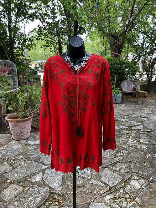 A&A Red Embroidery Tunic.#7008