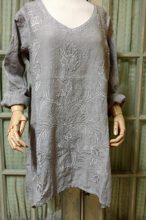 vintage linen embroidered kerrville trendy Tunic style fashion wineries blouse vintage comfortable ladies boutique shopping