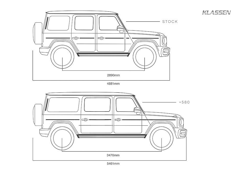 KLASSEN verlängert das Luxus-Limousine  Basierend auf: Mercedes-Benz G-Klasseum 580mm