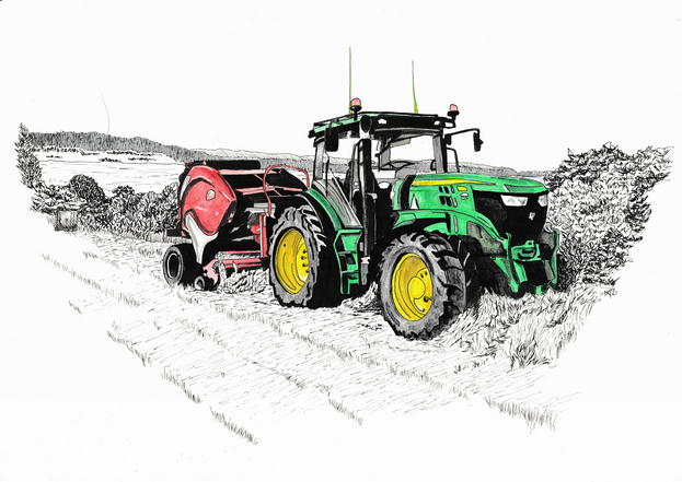 Tractor and baler