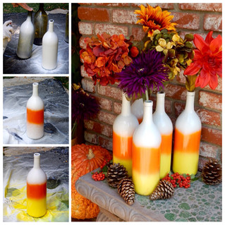 DIY Candy Corn Painted Bottles