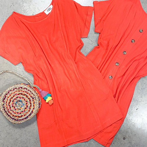 Red Shift Dress w/ Buttons