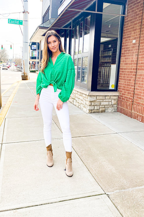 Green Envy Button Up
