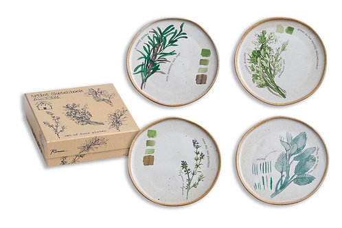 Farm To Table Plates Herbs Set of 4