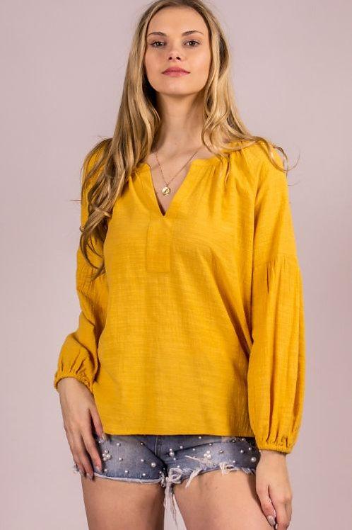 Slub Cotton V-Neck Top with Billowy Sleeves