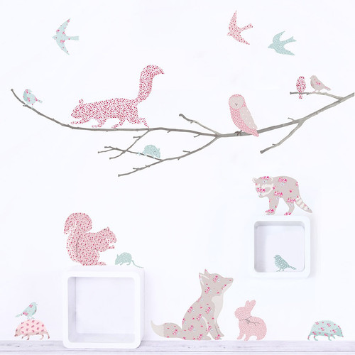 9e6fdf599 Woodland Animals Wall Stickers - Pink